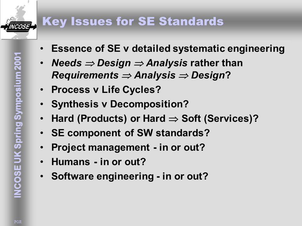 INCOSE UK Spring Symposium 2001 PGR Key Issues for SE Standards Essence of SE v detailed systematic engineering Needs  Design  Analysis rather than
