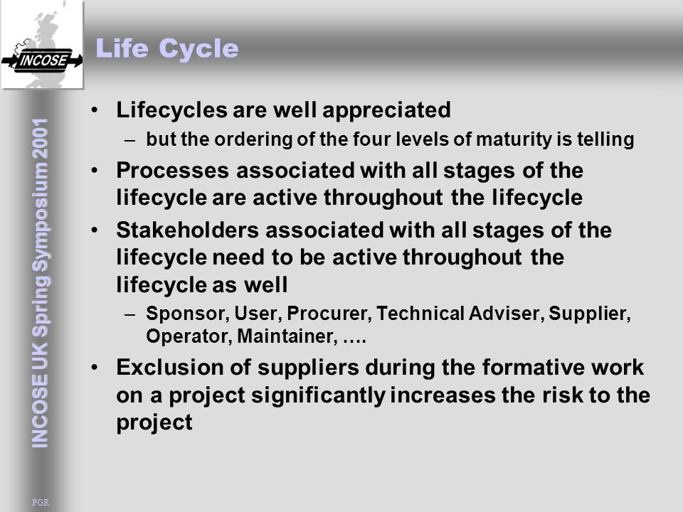 INCOSE UK Spring Symposium 2001 PGR Life Cycle Lifecycles are well appreciated –but the ordering of the four levels of maturity is telling Processes a