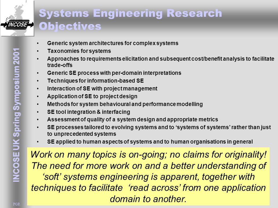 INCOSE UK Spring Symposium 2001 PGR Systems Engineering Research Objectives Generic system architectures for complex systems Taxonomies for systems Ap