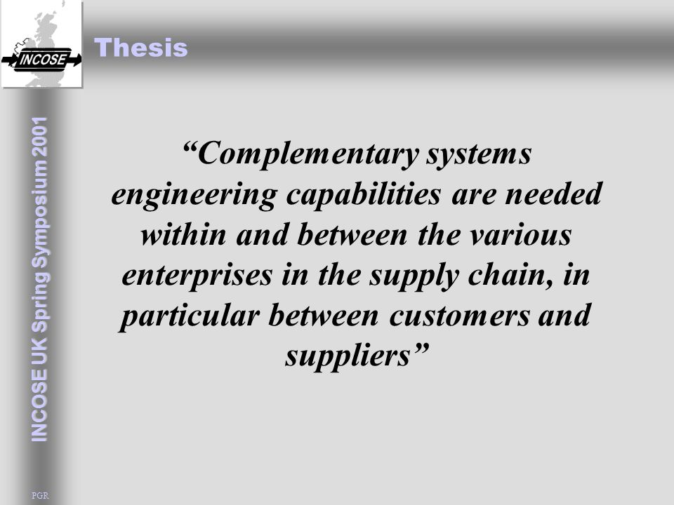 INCOSE UK Spring Symposium 2001 PGR Generic Systems Engineering What is a System.