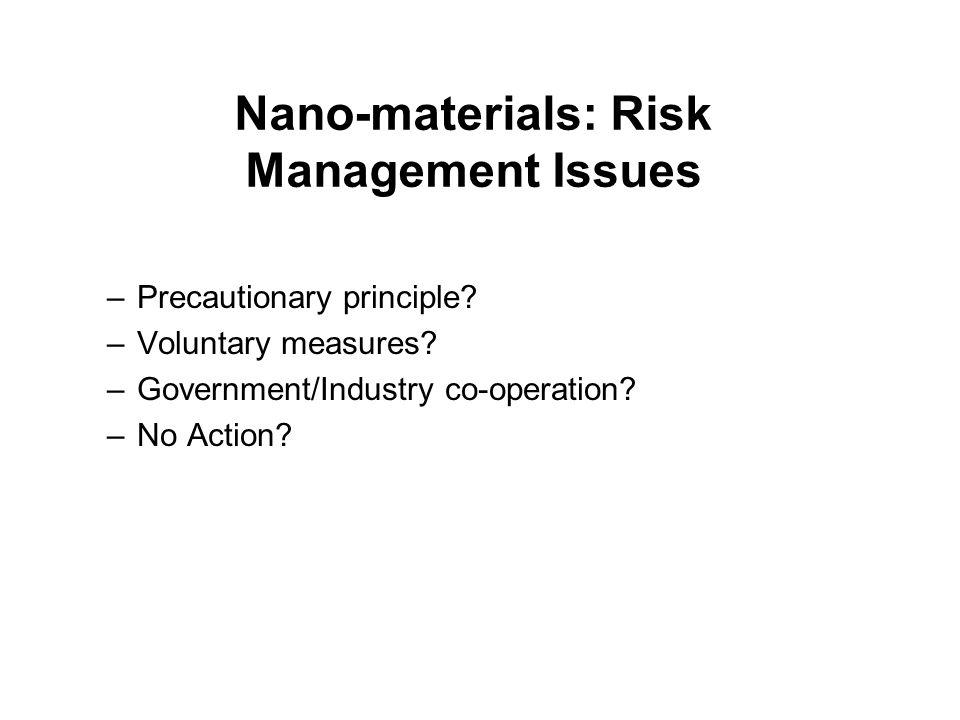 Nano-materials: Risk Management Issues –Precautionary principle.