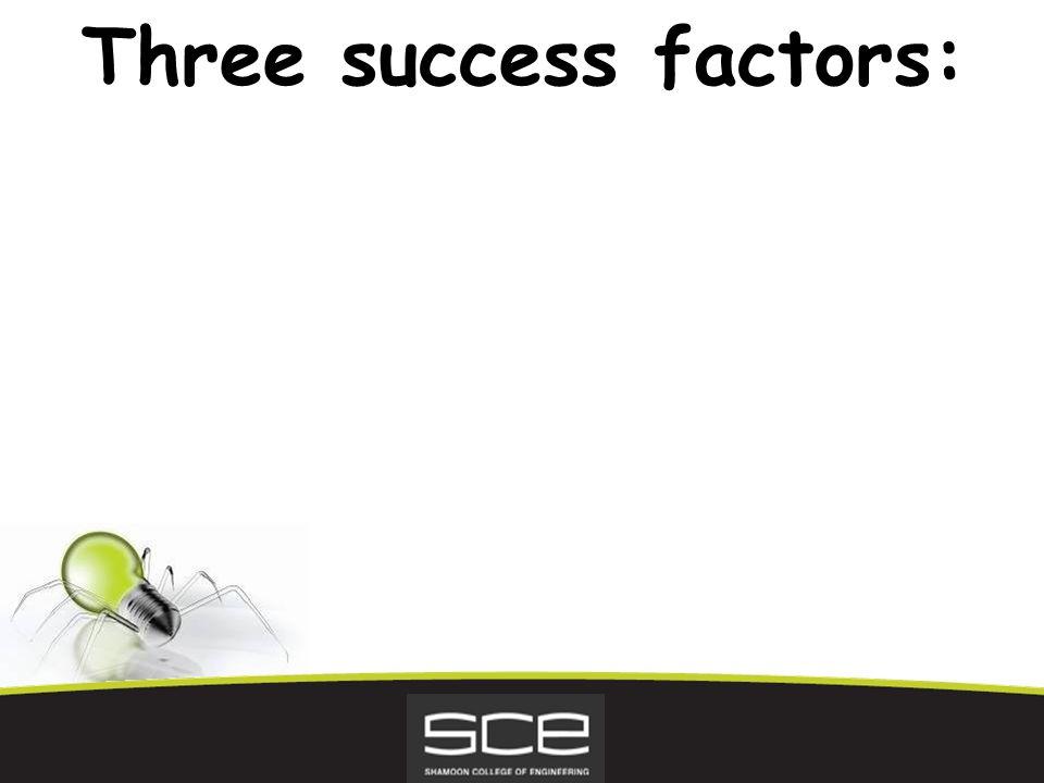 Three success factors: