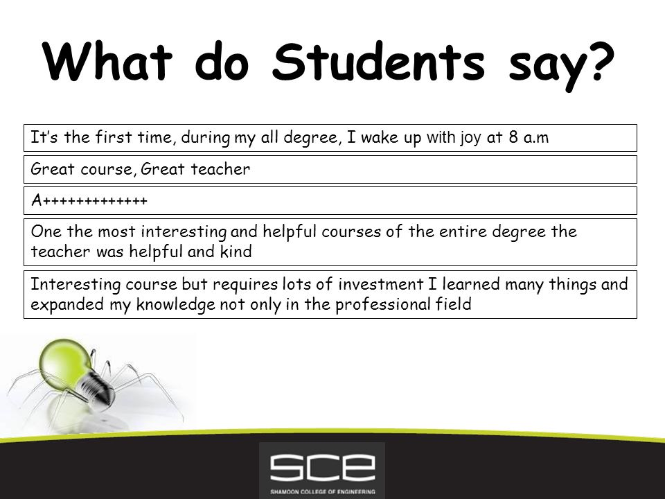 What do Students say.