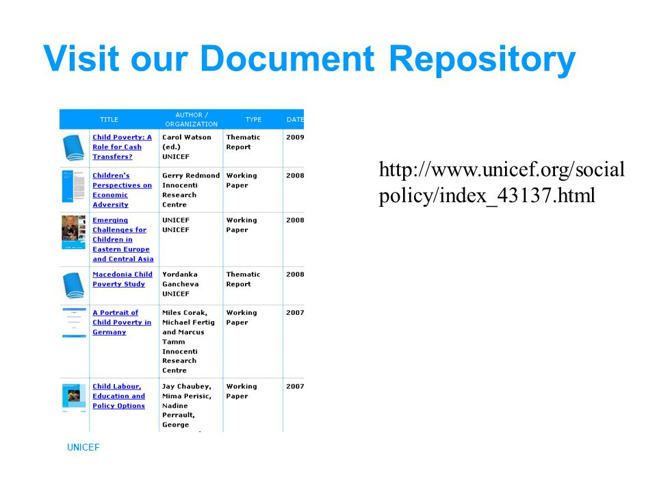 Visit our Document Repository UNICEF http://www.unicef.org/social policy/index_43137.html