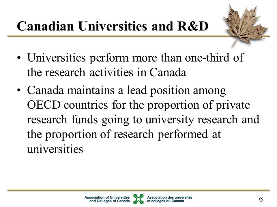 6 Canadian Universities and R&D Universities perform more than one-third of the research activities in Canada Canada maintains a lead position among OECD countries for the proportion of private research funds going to university research and the proportion of research performed at universities