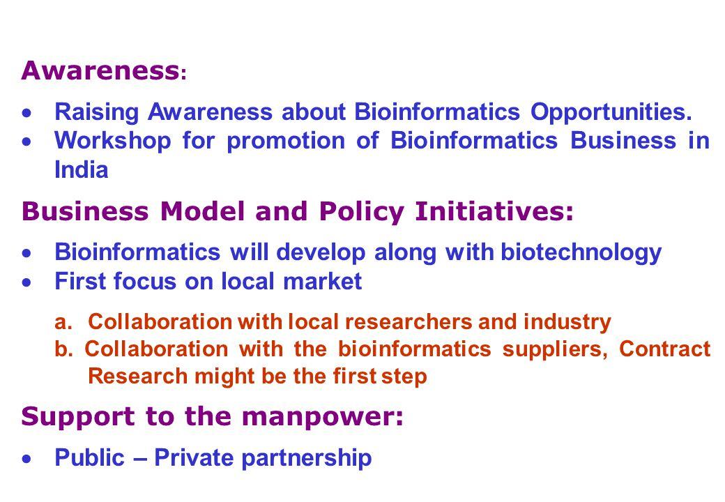 Awareness :  Raising Awareness about Bioinformatics Opportunities.
