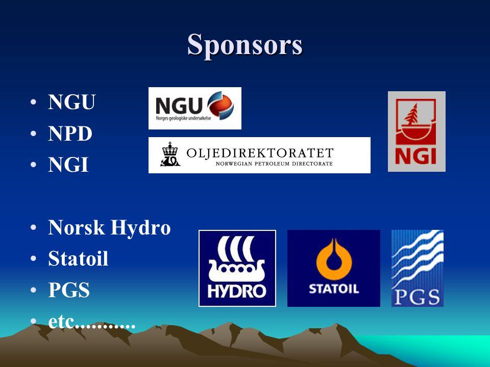 Sponsors NGU NPD NGI Norsk Hydro Statoil PGS etc...........