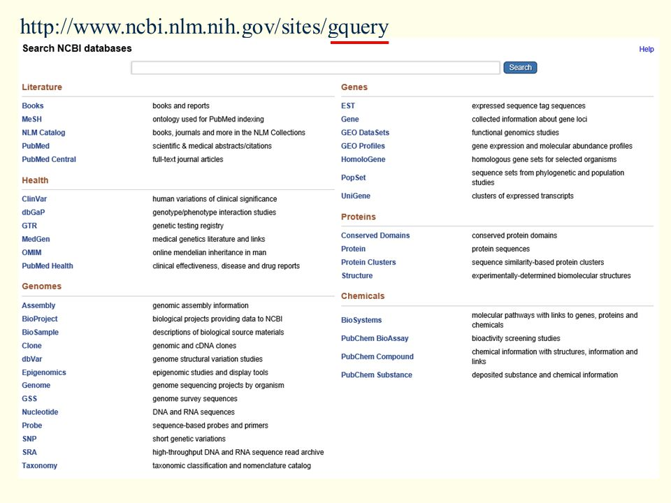 http://www.ncbi.nlm.nih.gov/sites/gquery