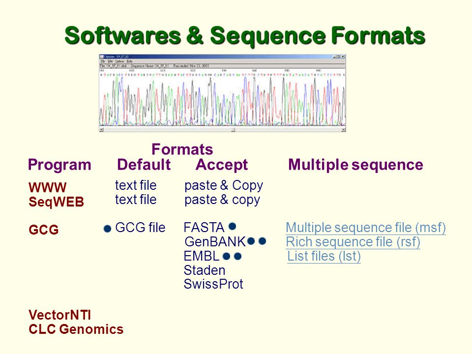 Softwares & Sequence Formats WWW SeqWEB GCG VectorNTI CLC Genomics text file paste & Copy text file paste & copy GCG file FASTA Multiple sequence file (msf) GenBANK Rich sequence file (rsf)Multiple sequence file (msf)Rich sequence file (rsf) EMBL List files (lst)List files (lst) Staden SwissProt Program Formats Default Accept Multiple sequence