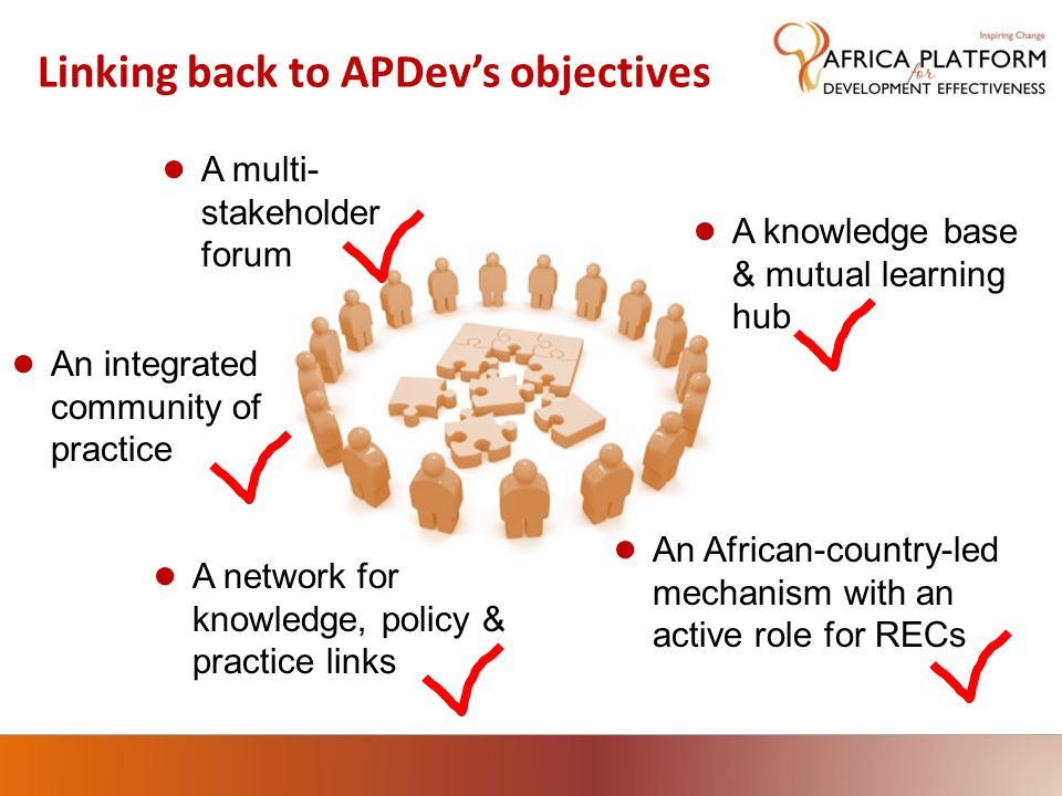 Linking back to APDev's objectives ● A multi- stakeholder forum ● An African-country-led mechanism with an active role for RECs ● An integrated community of practice ● A knowledge base & mutual learning hub ● A network for knowledge, policy & practice links