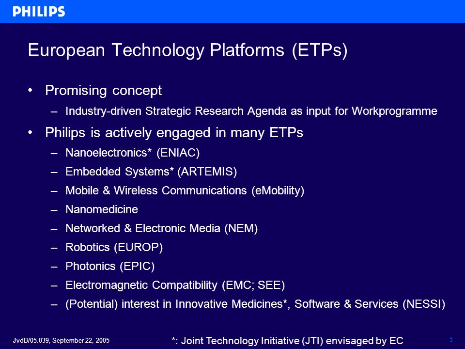 JvdB/05.039, September 22, 2005 5 European Technology Platforms (ETPs) Promising concept –Industry-driven Strategic Research Agenda as input for Workp