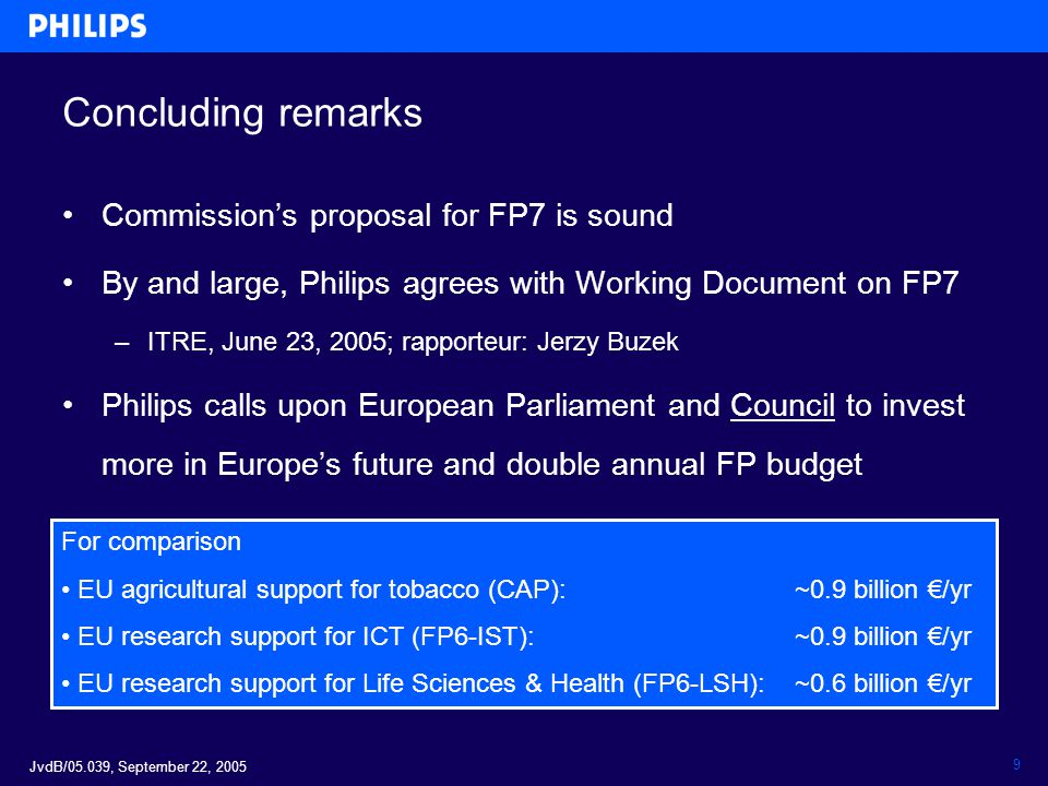 JvdB/05.039, September 22, 2005 9 Concluding remarks Commission's proposal for FP7 is sound By and large, Philips agrees with Working Document on FP7 –ITRE, June 23, 2005; rapporteur: Jerzy Buzek Philips calls upon European Parliament and Council to invest more in Europe's future and double annual FP budget For comparison EU agricultural support for tobacco (CAP): ~0.9 billion €/yr EU research support for ICT (FP6-IST): ~0.9 billion €/yr EU research support for Life Sciences & Health (FP6-LSH): ~0.6 billion €/yr