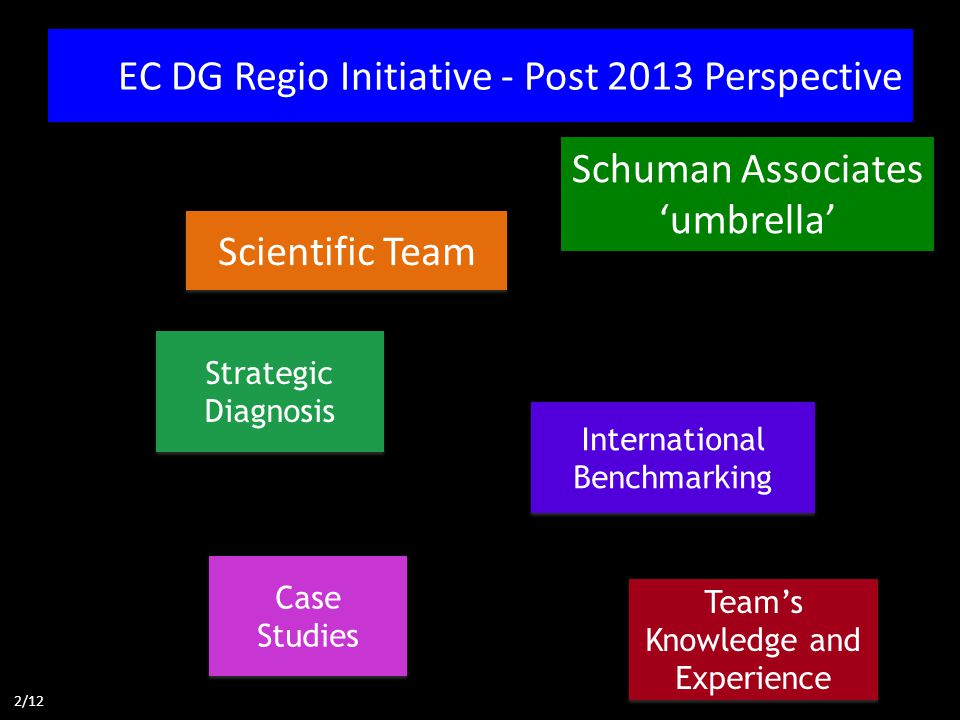 EC DG Regio Initiative - Post 2013 Perspective Scientific Team Strategic Diagnosis Case Studies International Benchmarking Schuman Associates 'umbrella' 2/12 Team's Knowledge and Experience