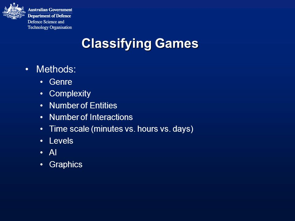 Classifying Games Methods: Genre Complexity Number of Entities Number of Interactions Time scale (minutes vs.