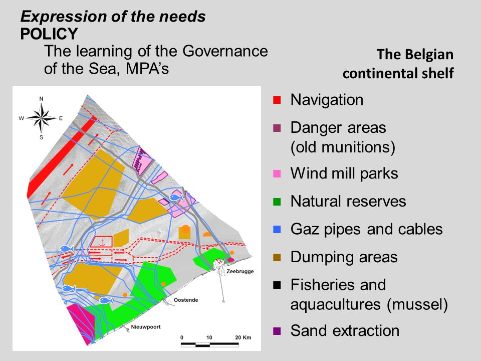 The Belgian continental shelf Navigation Danger areas (old munitions) Wind mill parks Natural reserves Gaz pipes and cables Dumping areas Fisheries and aquacultures (mussel) Sand extraction Expression of the needs POLICY The learning of the Governance of the Sea, MPA's