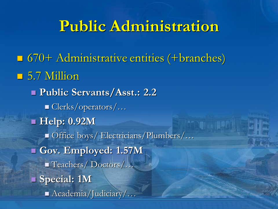 Public Administration 670+ Administrative entities (+branches) 670+ Administrative entities (+branches) 5.7 Million 5.7 Million Public Servants/Asst.: 2.2 Public Servants/Asst.: 2.2 Clerks/operators/… Clerks/operators/… Help: 0.92M Help: 0.92M Office boys/ Electricians/Plumbers/… Office boys/ Electricians/Plumbers/… Gov.