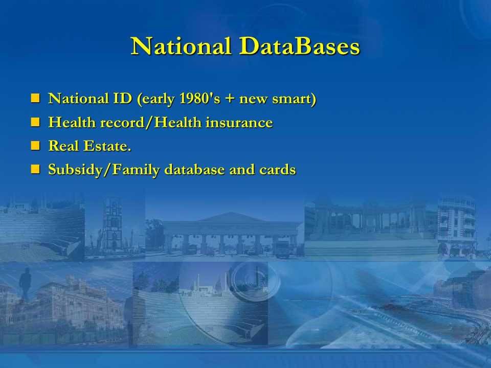 National DataBases National ID (early 1980 s + new smart) National ID (early 1980 s + new smart) Health record/Health insurance Health record/Health insurance Real Estate.