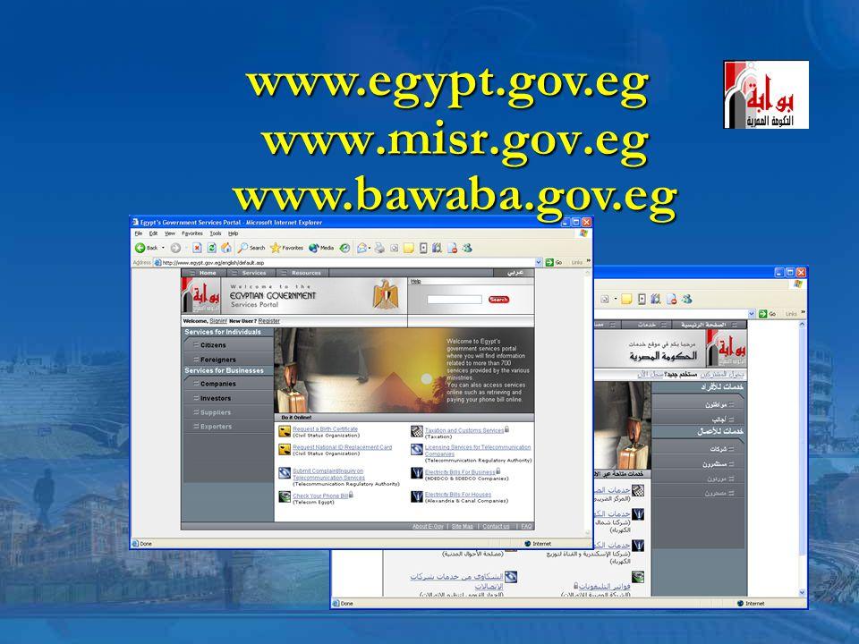 www.misr.gov.eg www.egypt.gov.eg www.bawaba.gov.eg