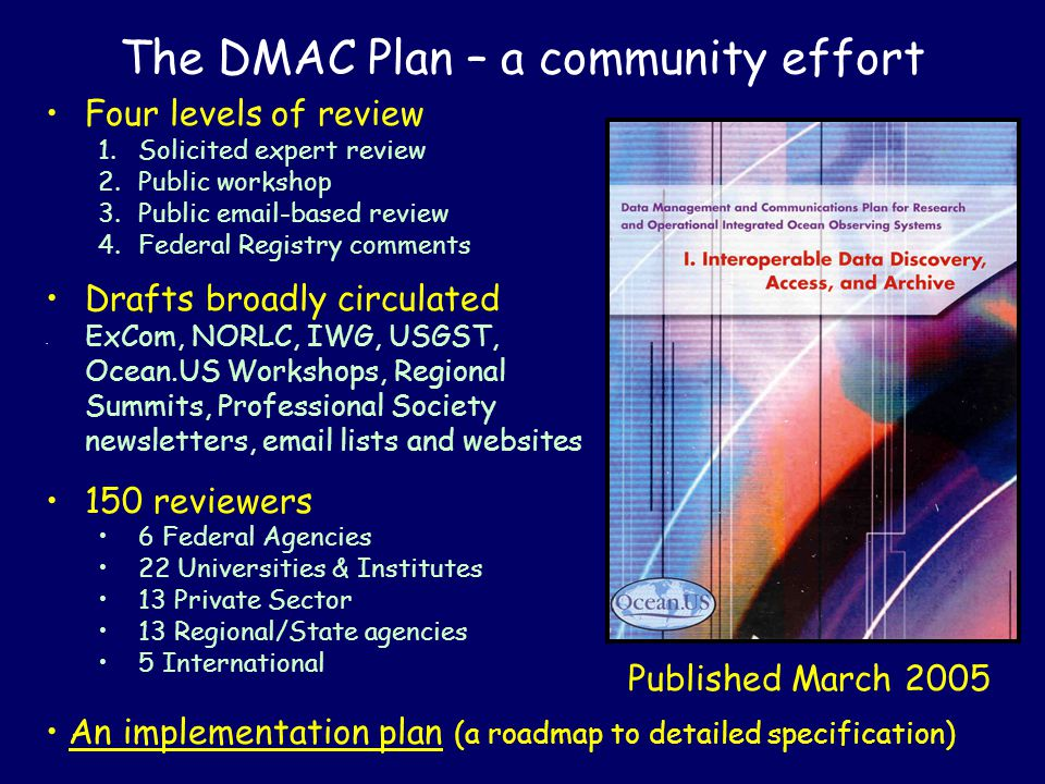 The DMAC Plan – a community effort Four levels of review 1.Solicited expert review 2.Public workshop 3.Public email-based review 4.Federal Registry comments Drafts broadly circulated ExCom, NORLC, IWG, USGST, Ocean.US Workshops, Regional Summits, Professional Society newsletters, email lists and websites 150 reviewers 6 Federal Agencies 22 Universities & Institutes 13 Private Sector 13 Regional/State agencies 5 International An implementation plan (a roadmap to detailed specification) Published March 2005