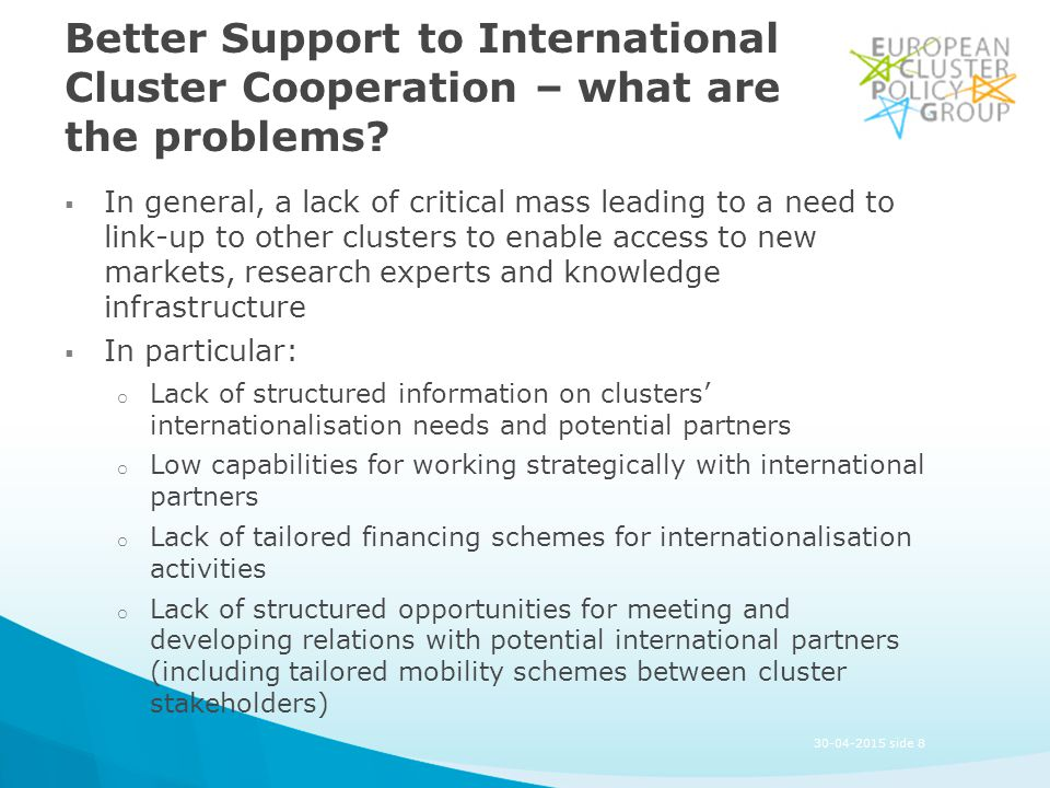 Better Support to International Cluster Cooperation – what are the problems.