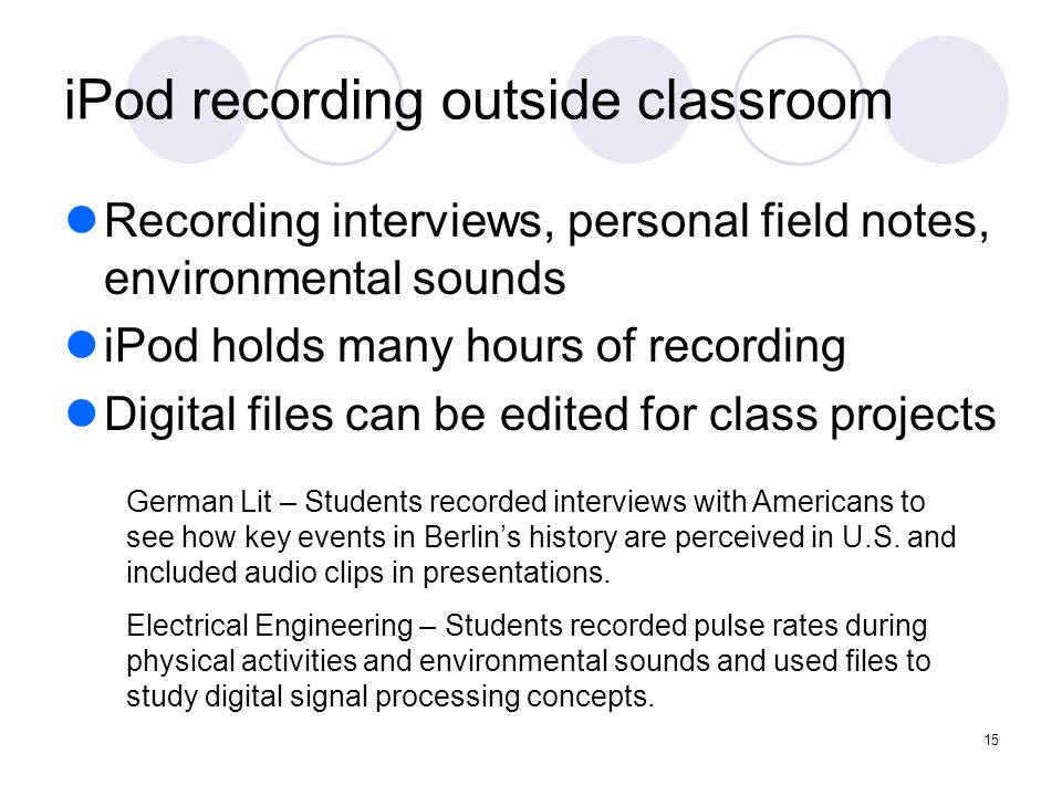 15 iPod recording outside classroom Recording interviews, personal field notes, environmental sounds iPod holds many hours of recording Digital files