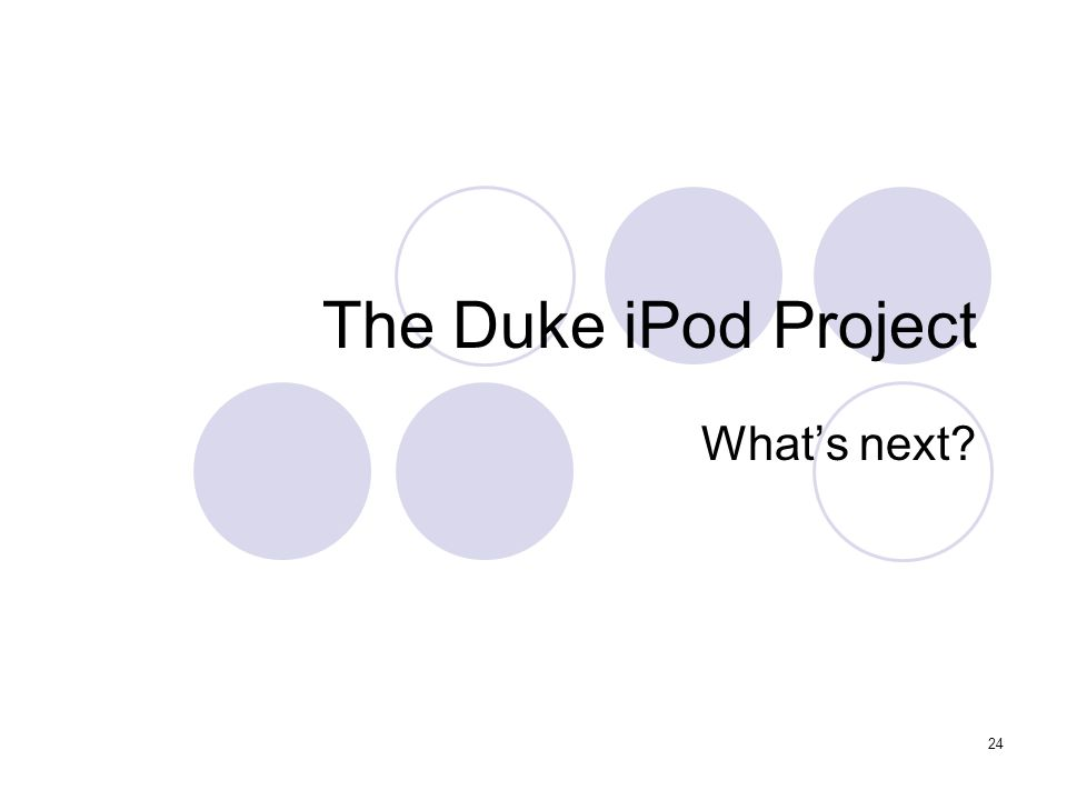 24 The Duke iPod Project What's next?