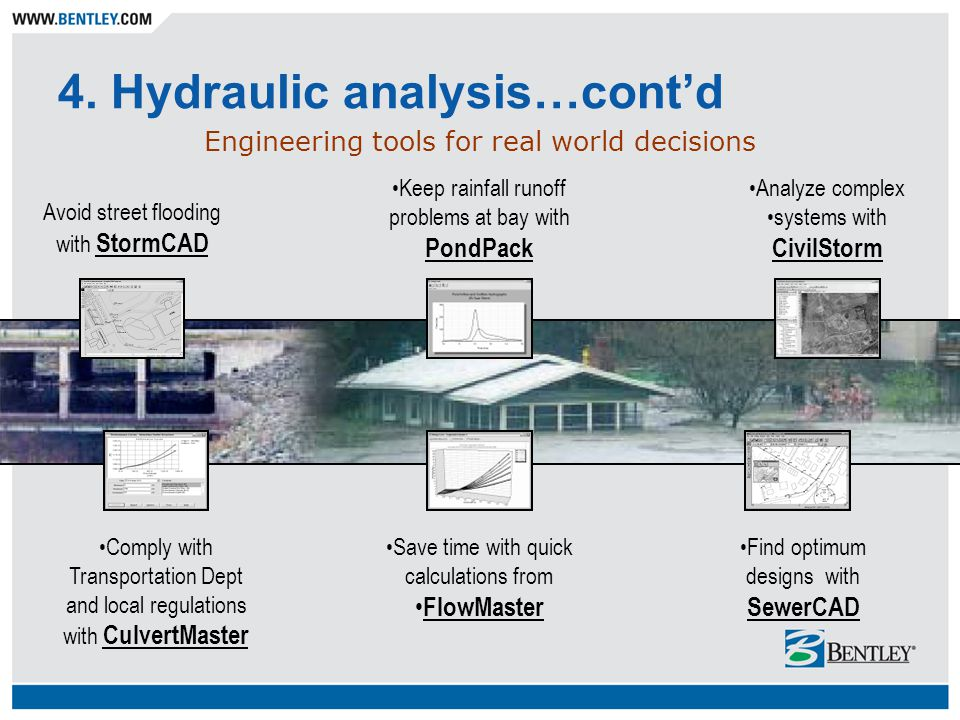 4. Hydraulic analysis…cont'd Engineering tools for real world decisions Comply with Transportation Dept and local regulations with CulvertMaster Save
