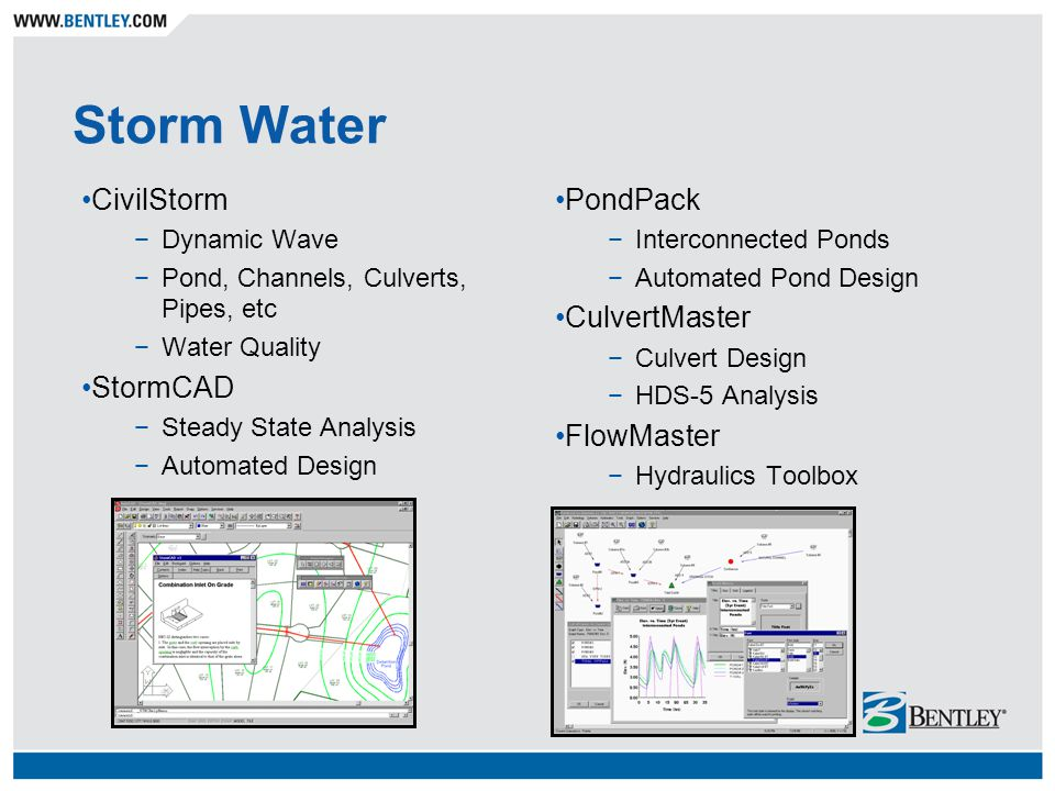 Storm Water CivilStorm −Dynamic Wave −Pond, Channels, Culverts, Pipes, etc −Water Quality StormCAD −Steady State Analysis −Automated Design PondPack −Interconnected Ponds −Automated Pond Design CulvertMaster −Culvert Design −HDS-5 Analysis FlowMaster −Hydraulics Toolbox