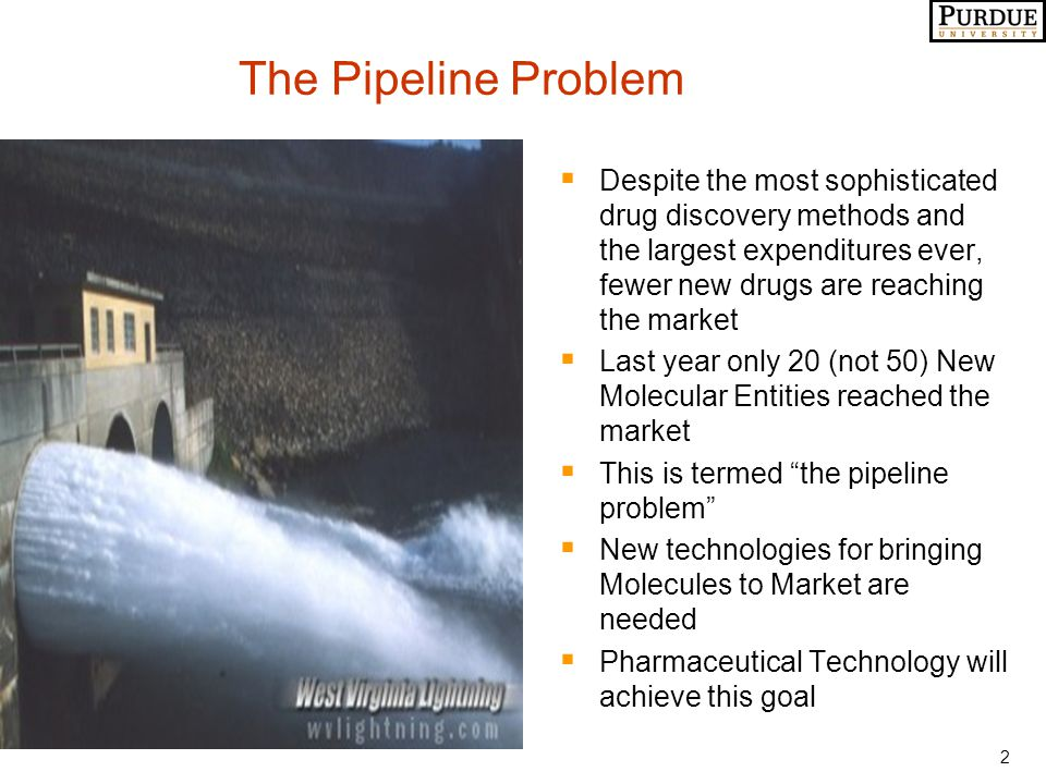 2 The Pipeline Problem  Despite the most sophisticated drug discovery methods and the largest expenditures ever, fewer new drugs are reaching the market  Last year only 20 (not 50) New Molecular Entities reached the market  This is termed the pipeline problem  New technologies for bringing Molecules to Market are needed  Pharmaceutical Technology will achieve this goal