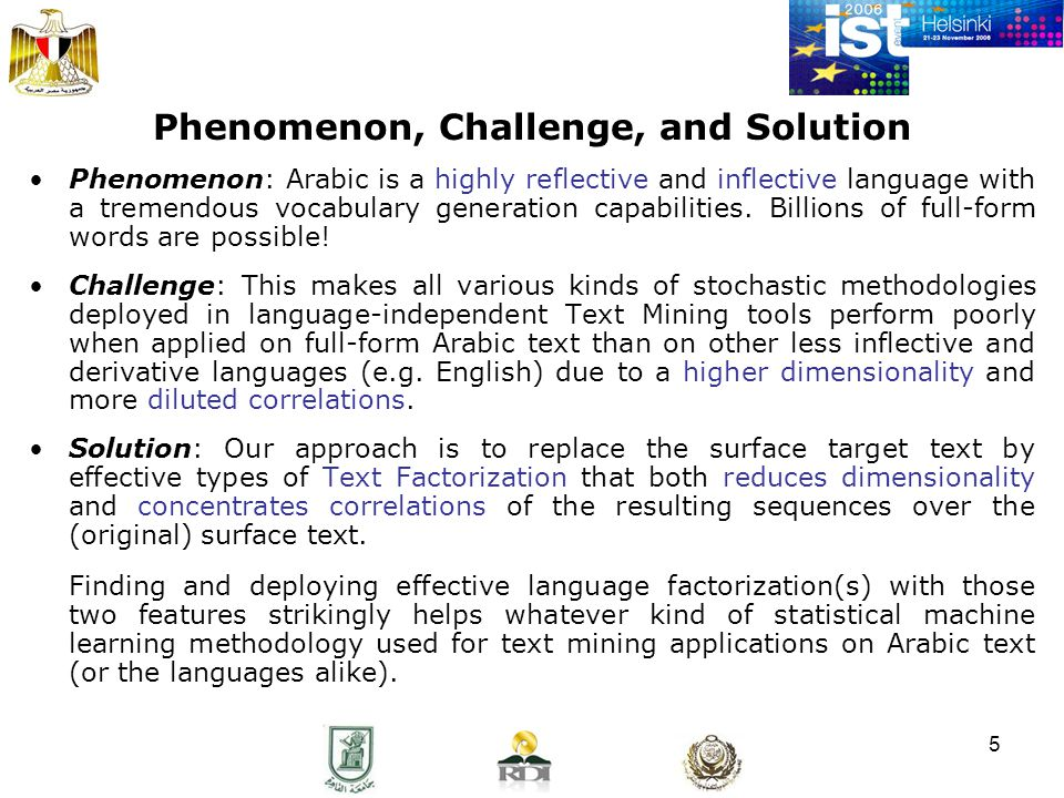 5 Phenomenon, Challenge, and Solution Phenomenon: Arabic is a highly reflective and inflective language with a tremendous vocabulary generation capabilities.