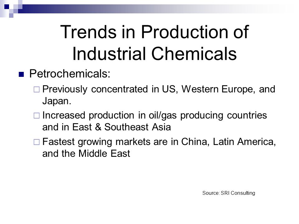 Source: SRI Consulting Petrochemicals:  Previously concentrated in US, Western Europe, and Japan.  Increased production in oil/gas producing countri