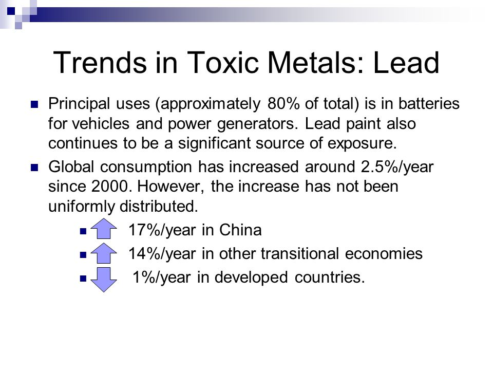 Trends in Toxic Metals: Lead Principal uses (approximately 80% of total) is in batteries for vehicles and power generators.