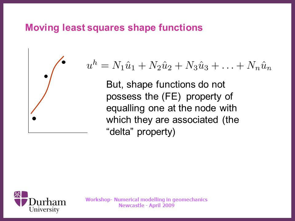 ∂ Workshop- Numerical modelling in geomechanics Newcastle - April 2009 Moving least squares shape functions But, shape functions do not possess the (FE) property of equalling one at the node with which they are associated (the delta property)