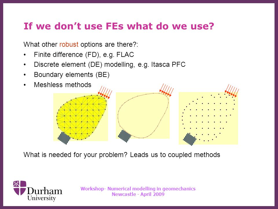 ∂ Workshop- Numerical modelling in geomechanics Newcastle - April 2009 Meshless methods Once we have shape functions things proceed much as finite elements Except that we have no elements over which to carry out integrations to form the terms in the stiffness matrix