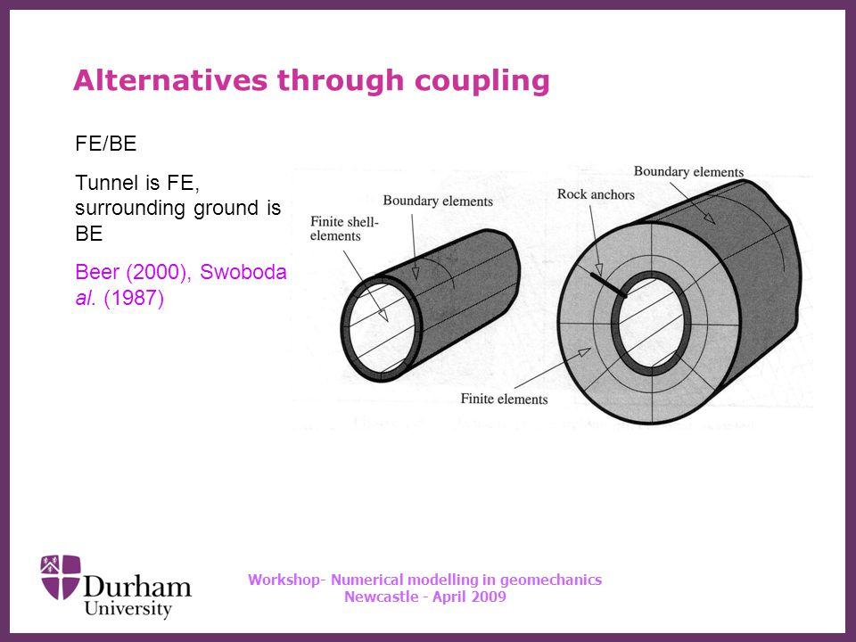 ∂ Workshop- Numerical modelling in geomechanics Newcastle - April 2009 DE/BE modelling hydro-mechanical behaviour of jointed rock Wei & Hudson (1998) Alternatives through coupling