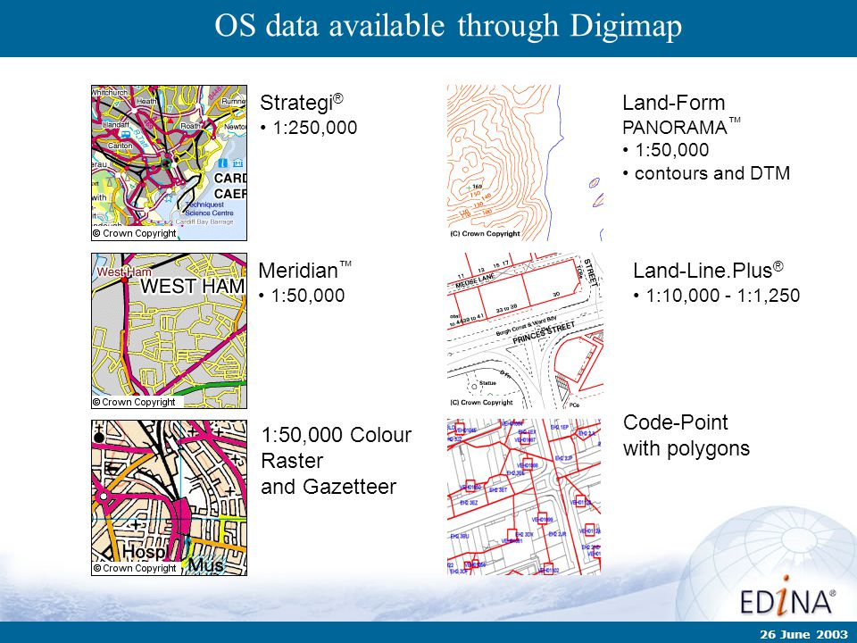 26 June 2003 Land-Line.Plus ® 1:10,000 - 1:1,250 Land-Form PANORAMA ™ 1:50,000 contours and DTM Strategi ® 1:250,000 OS data available through Digimap
