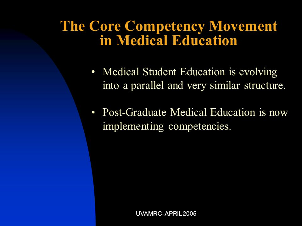UVAMRC- APRIL 2005 Medical Student Education is evolving into a parallel and very similar structure.