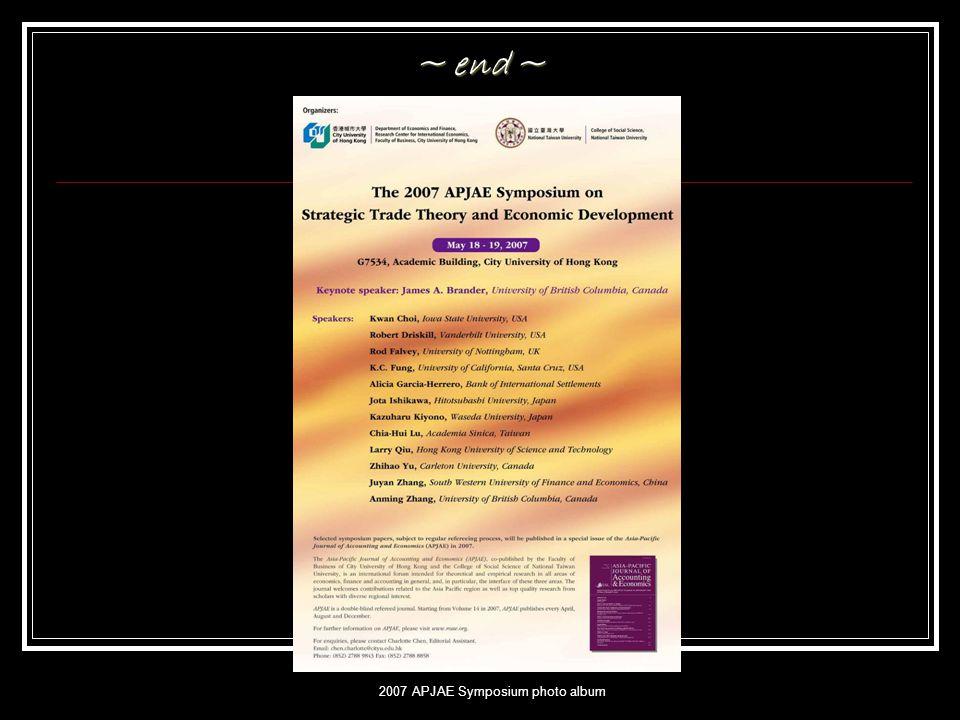 2007 APJAE Symposium photo album ~ end ~