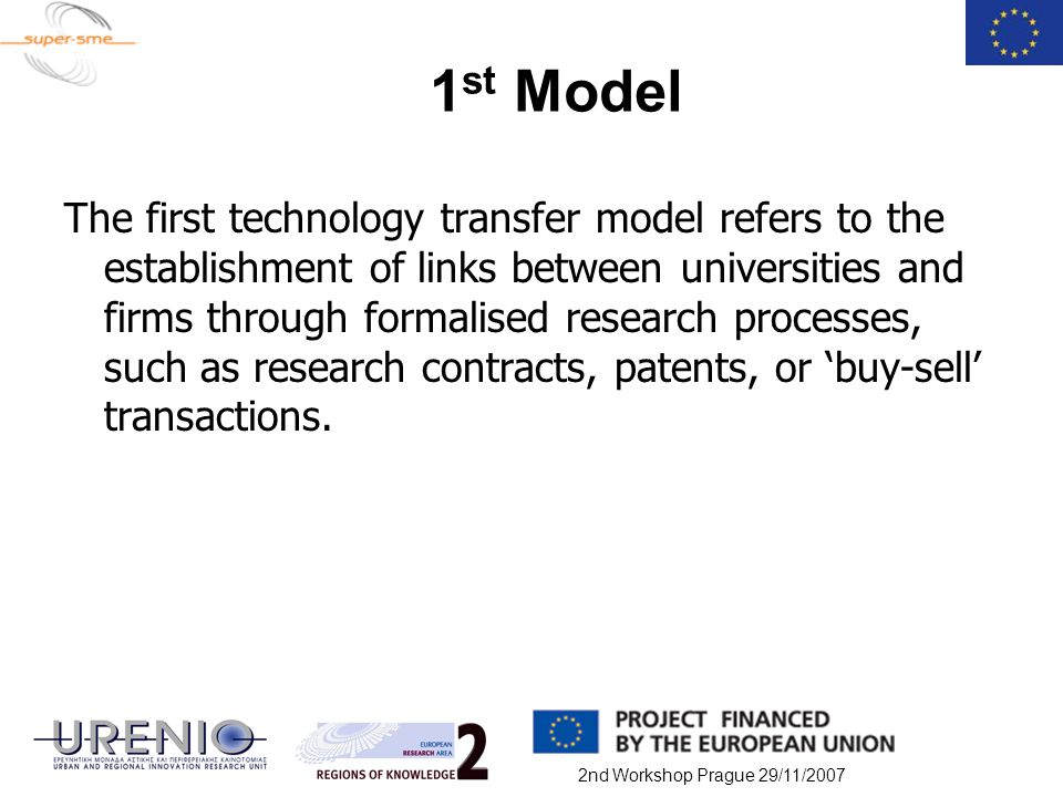 2nd Workshop Prague 29/11/2007 1 st Model The first technology transfer model refers to the establishment of links between universities and firms thro