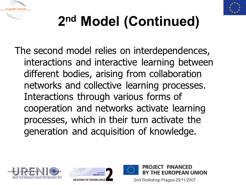 2nd Workshop Prague 29/11/2007 2 nd Model (Continued) The second model relies on interdependences, interactions and interactive learning between diffe