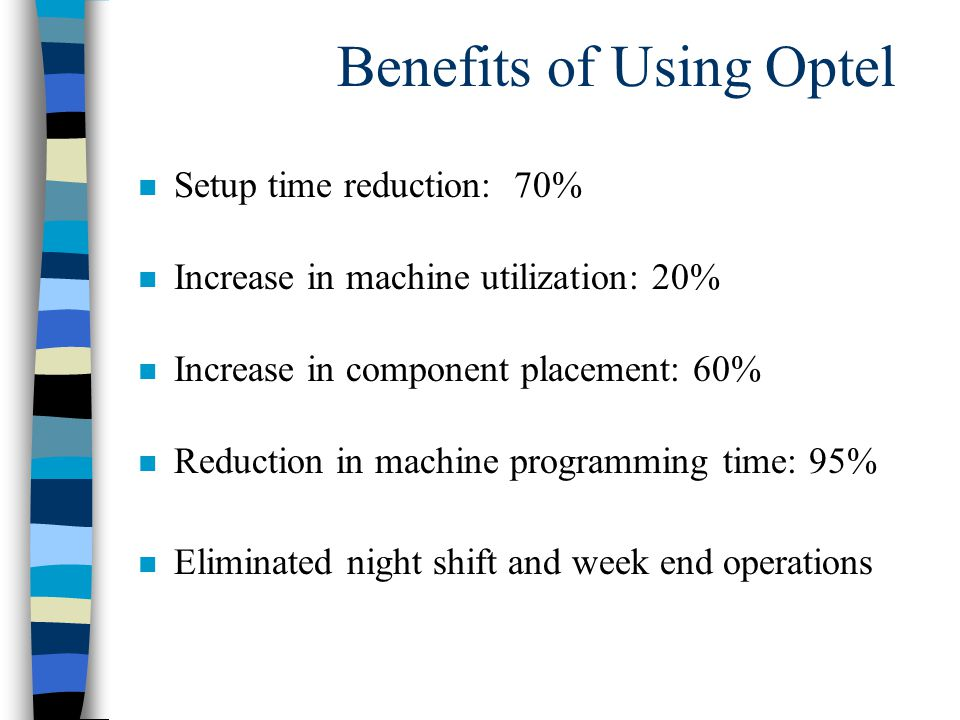Benefits of Using Optel n Setup time reduction: 70% n Increase in machine utilization: 20% n Increase in component placement: 60% n Reduction in machine programming time: 95% n Eliminated night shift and week end operations