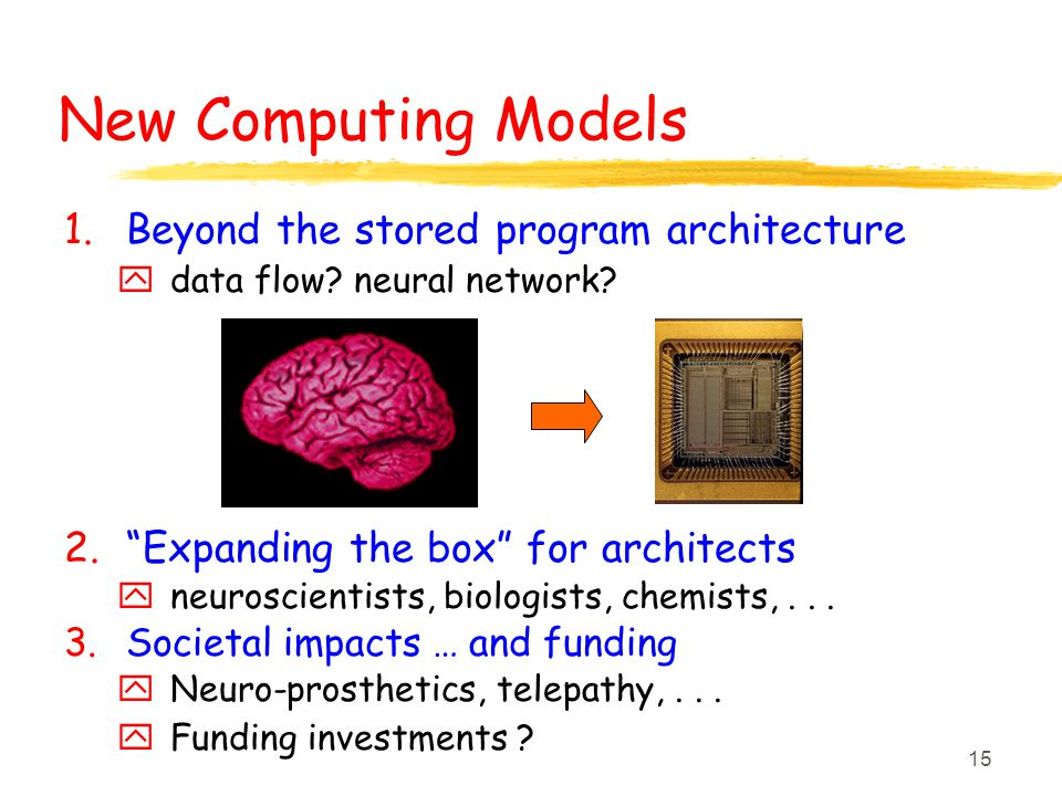 "15 New Computing Models 1.Beyond the stored program architecture y data flow? neural network? 2.""Expanding the box"" for architects y neuroscientists,"