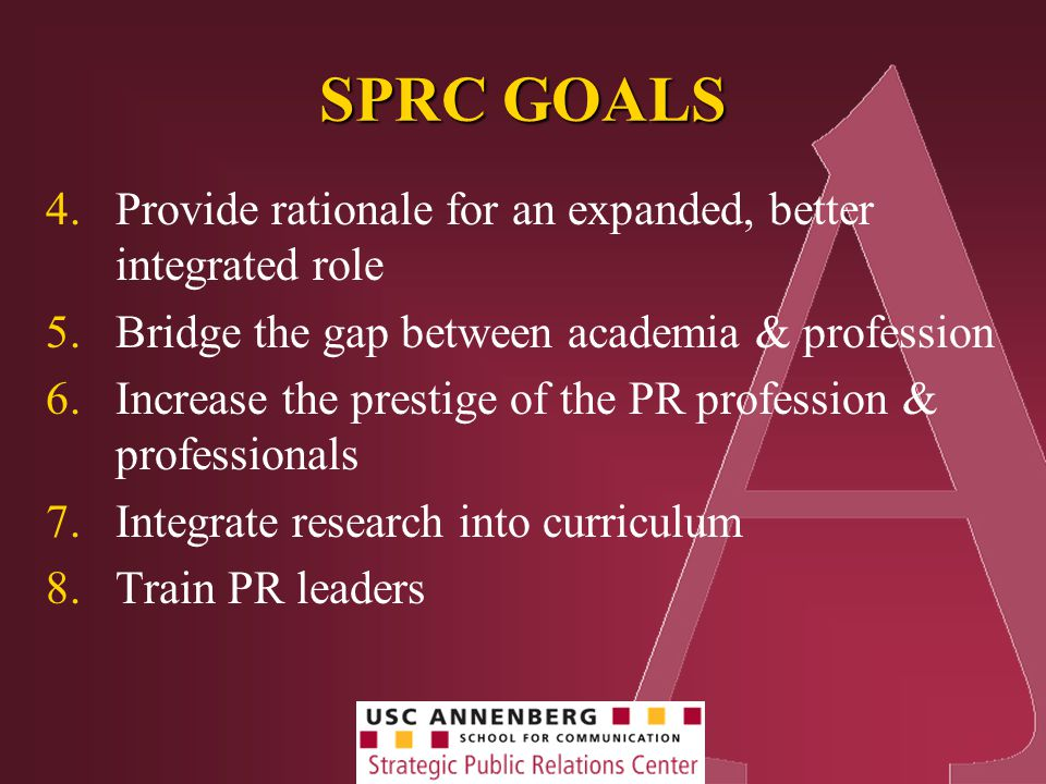 SPRC GOALS 4.Provide rationale for an expanded, better integrated role 5.Bridge the gap between academia & profession 6.Increase the prestige of the PR profession & professionals 7.Integrate research into curriculum 8.Train PR leaders