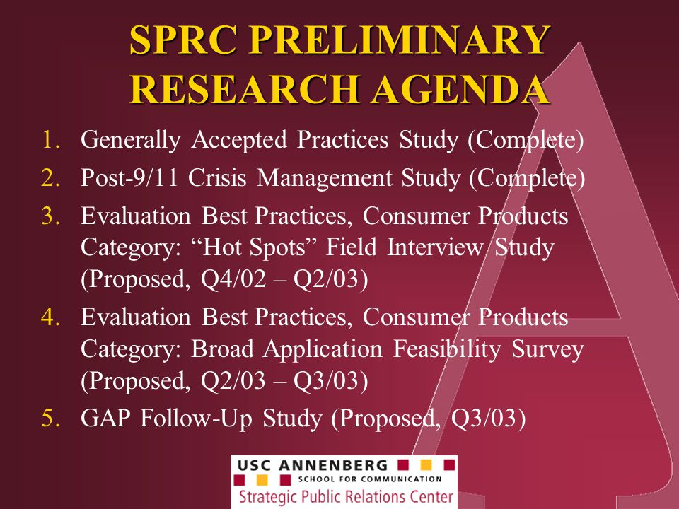 SPRC PRELIMINARY RESEARCH AGENDA 1.Generally Accepted Practices Study (Complete) 2.Post-9/11 Crisis Management Study (Complete) 3.Evaluation Best Practices, Consumer Products Category: Hot Spots Field Interview Study (Proposed, Q4/02 – Q2/03) 4.Evaluation Best Practices, Consumer Products Category: Broad Application Feasibility Survey (Proposed, Q2/03 – Q3/03) 5.GAP Follow-Up Study (Proposed, Q3/03)