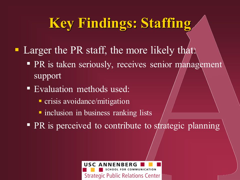 Key Findings: Staffing  Larger the PR staff, the more likely that: ▪ PR is taken seriously, receives senior management support ▪ Evaluation methods used:  crisis avoidance/mitigation  inclusion in business ranking lists ▪ PR is perceived to contribute to strategic planning