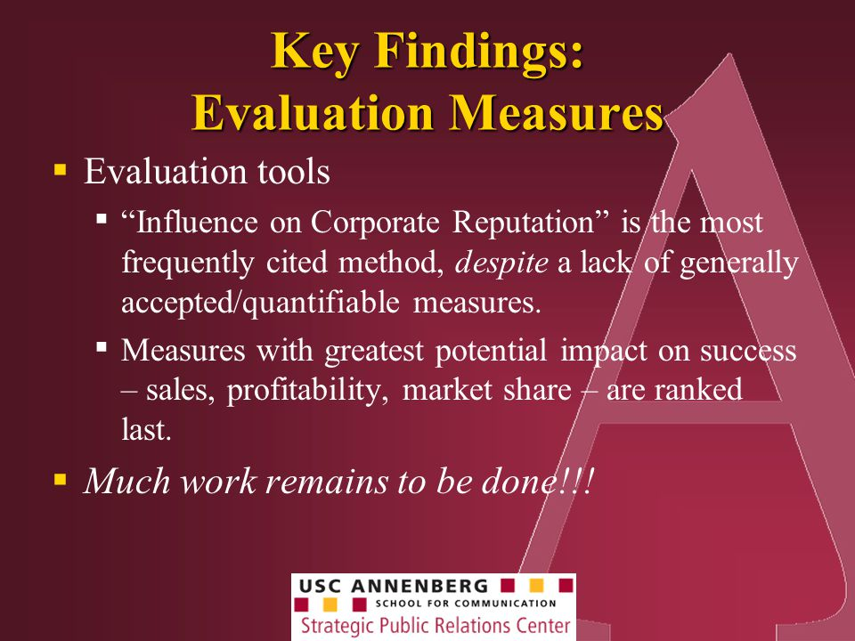 Key Findings: Evaluation Measures  Evaluation tools ▪ Influence on Corporate Reputation is the most frequently cited method, despite a lack of generally accepted/quantifiable measures.