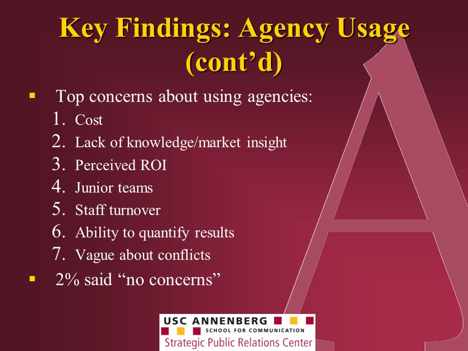 Key Findings: Agency Usage (cont'd)  Top concerns about using agencies: 1.