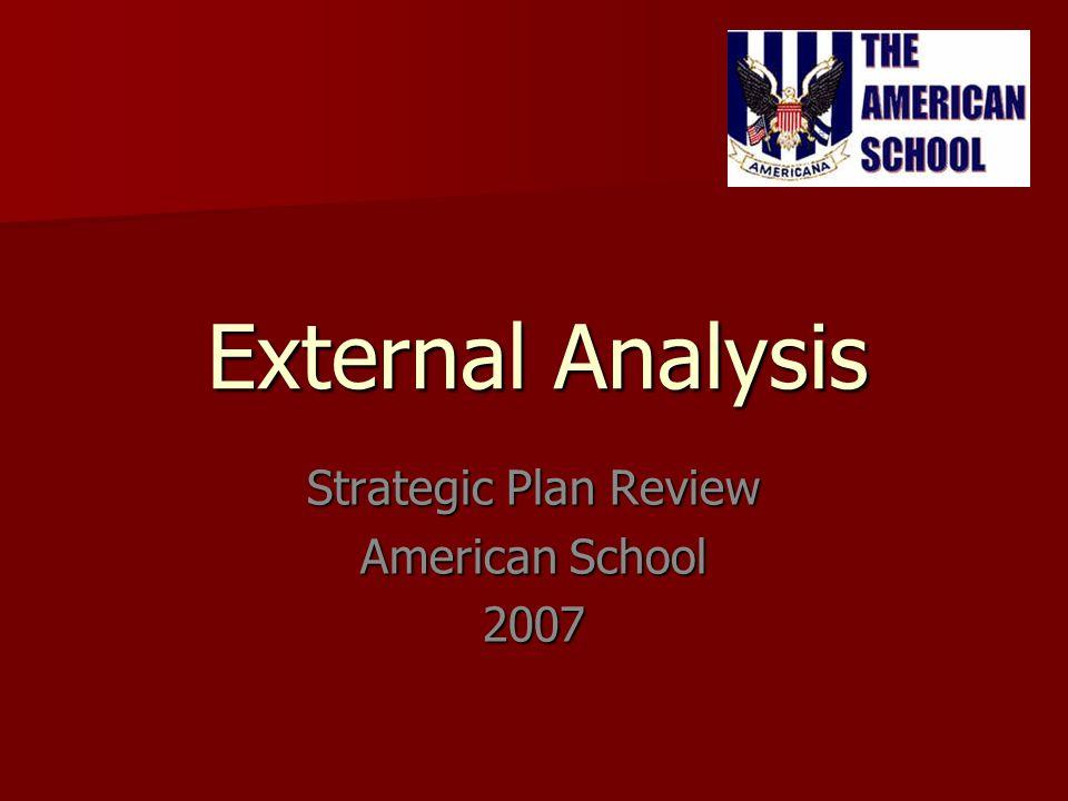 External Analysis Strategic Plan Review American School 2007