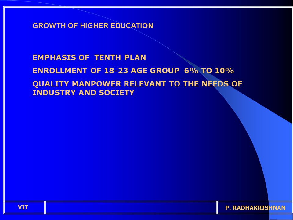 GROWTH OF HIGHER EDUCATION EMPHASIS OF TENTH PLAN ENROLLMENT OF 18-23 AGE GROUP 6% TO 10% QUALITY MANPOWER RELEVANT TO THE NEEDS OF INDUSTRY AND SOCIETY VIT P.