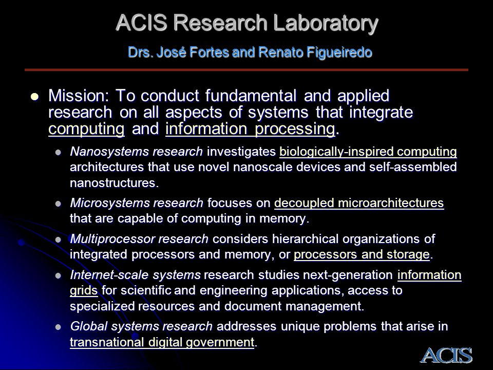 Mission: To conduct fundamental and applied research on all aspects of systems that integrate computing and information processing.